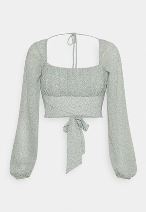 LONG SLEEVE RUCHED DETAIL BLOUSE - Blouse - green