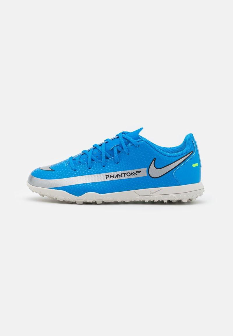 Nike Performance - JR PHANTOM GT CLUB TF UNISEX - Astro turf trainers - photo blue/metallic silver/rage green