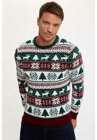 DeFacto - NEW YEAR - Stickad tröja - bordeaux - 0