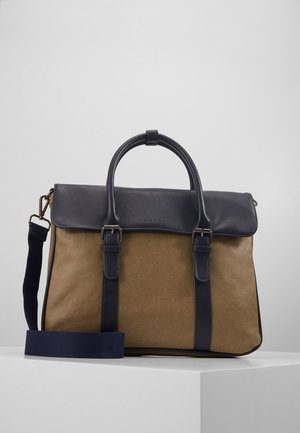 Briefcase - dark blue/beige