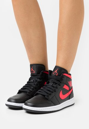 WOMENS AIR JORDAN 1 MID - High-top trainers - black/siren red/white