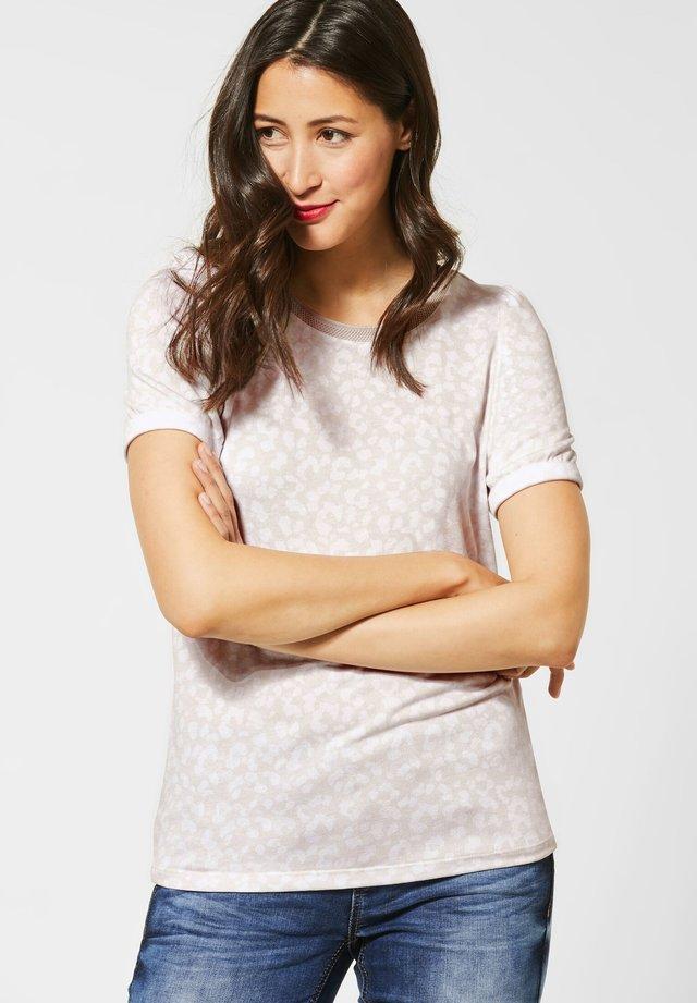 MIT PUFF-ÄRMELN - Print T-shirt - beige