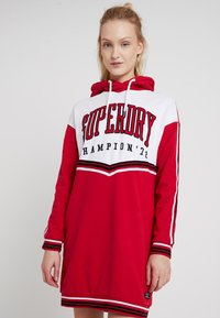 Superdry - COLLEGE HOODED DRESS - Day dress - burnt red/ice marl - 0