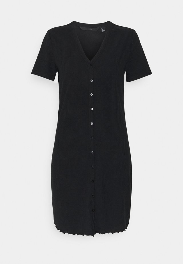 VMARIA SHORT BUTTON DRESS - Jerseyklänning - black