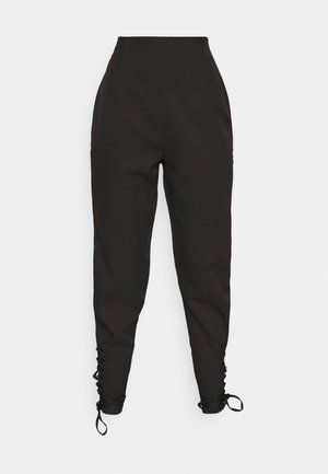 LACE UP ANKLE CIGARETTE TROUSER - Bukse - black