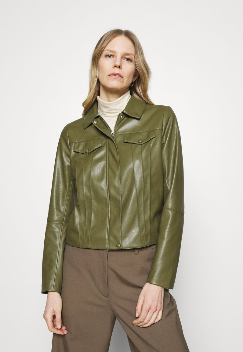 comma - Faux leather jacket - deep green
