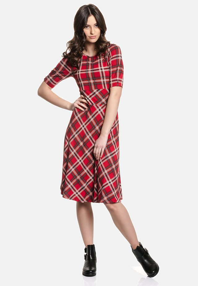 A-LINIEN-KLEID BRITISH DAY DRESS - Day dress - rot allover