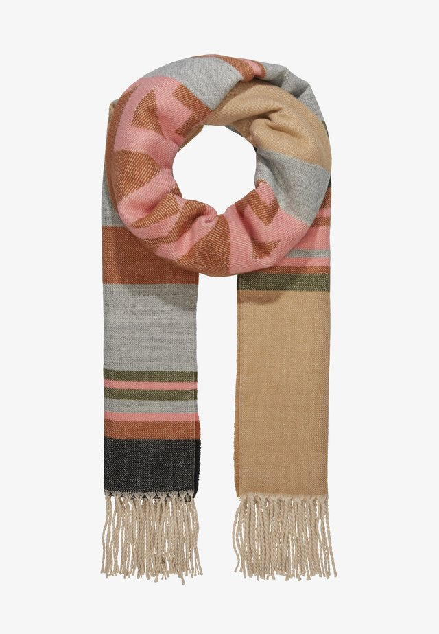 BLANKET STRIPED ETHNO PART - Sciarpa - camel