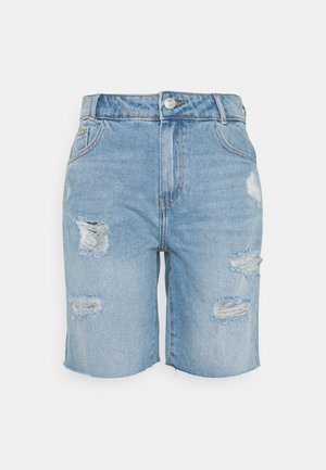 NMLUCKY LONGBOARDER - Shorts di jeans - light blue denim