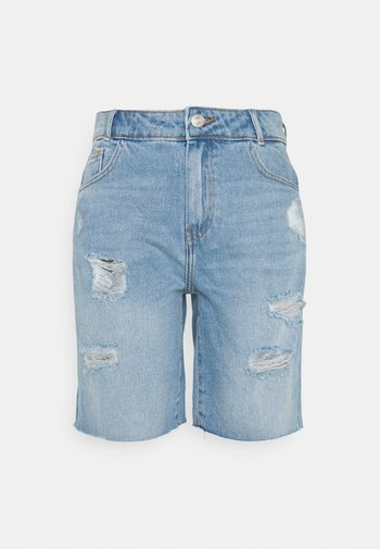 NMLUCKY LONGBOARDER - Shorts di jeans - light blue denim