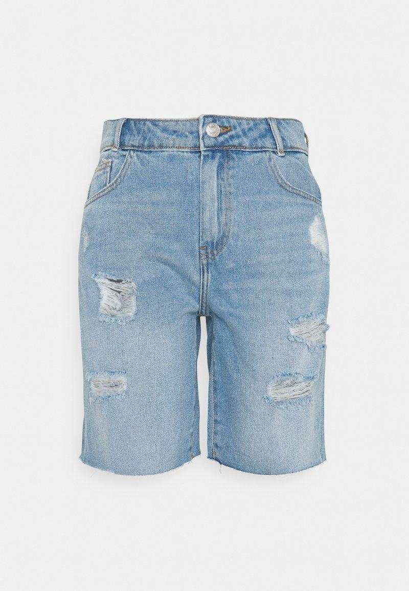 Noisy May - NMLUCKY LONGBOARDER - Shorts di jeans - light blue denim