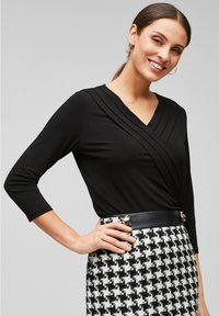 s.Oliver BLACK LABEL - MIT CACHE-COEUR-AUSSCHNITT - Long sleeved top - black - 0