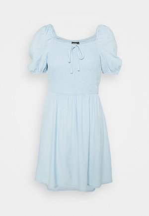SHIRRED PUFF SLEEVE SKATER DRESS - Korte jurk - blue