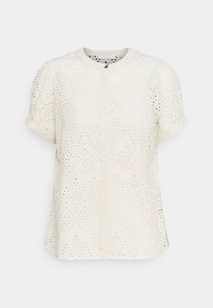 BLOOM EMBROIDERY BLOUSE - Print T-shirt - egg shell