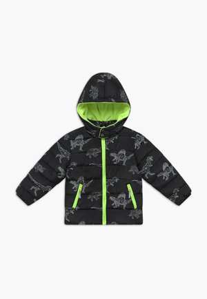 KIDS BLACK DINOSAUR PRINT - Winter jacket - schwarz