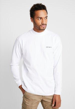 MOCKNECK SCRIPT EMBROIDERY - Long sleeved top - white/black