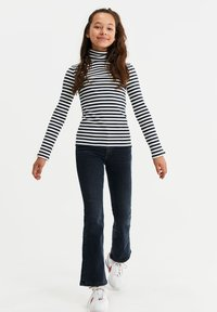 WE Fashion - MEISJES ROLNEK T-SHIRT MET GESTREEPTDESSIN - Longsleeve - dark blue - 1