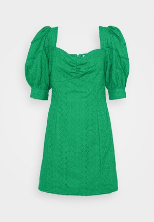BRODERIE MINI DRESSES WITH PUFF SLEEVES - Vestido informal - green