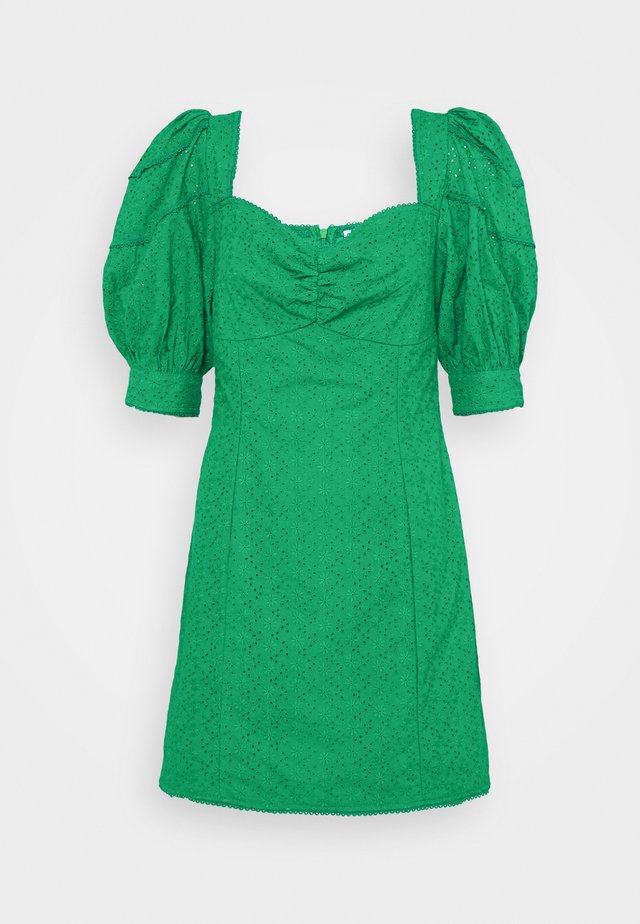 BRODERIE MINI DRESSES WITH PUFF SLEEVES - Korte jurk - green