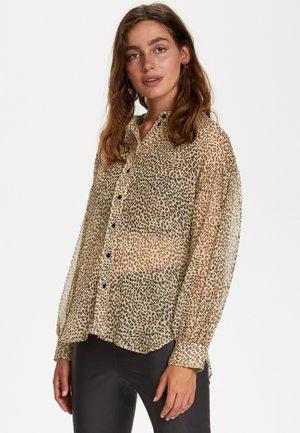 Button-down blouse - mini leopard dot