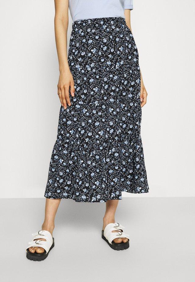 JDYVICKY SKIRT - Pliceret nederdel /Nederdele med folder - black/vista blue/cloud dancer