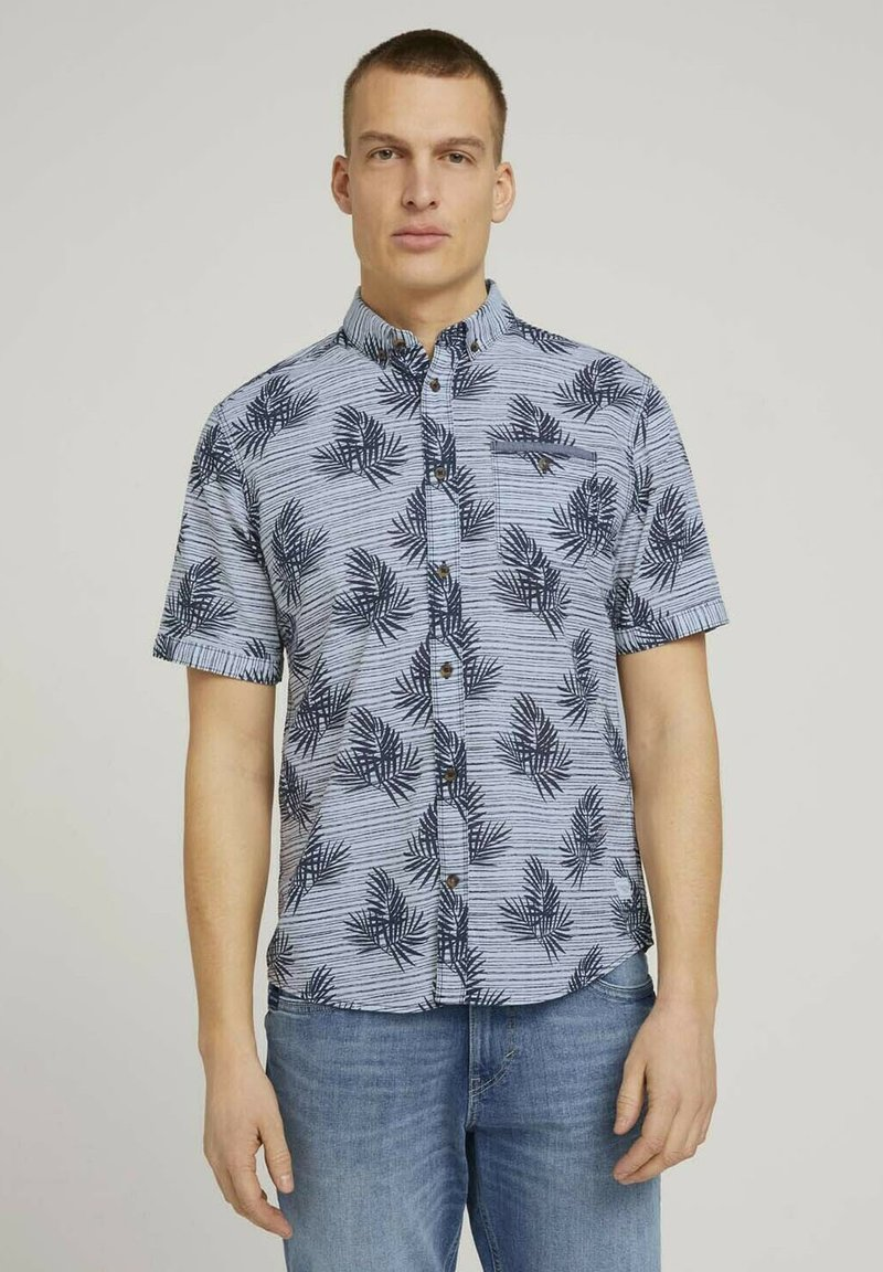 TOM TAILOR - Shirt - white navy leaf stripe design