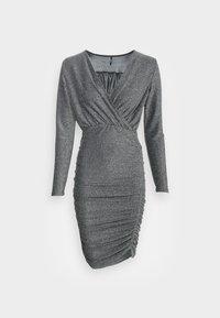 ONLY - ONLDARLING WRAP GLITTER DRESS - Cocktail dress / Party dress - black/silver - 3