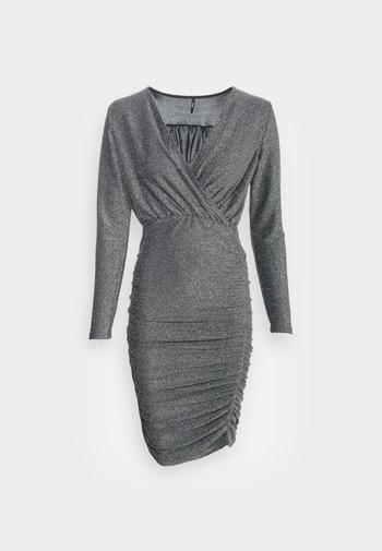 ONLDARLING WRAP GLITTER DRESS - Vestito elegante - black/silver