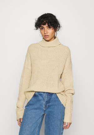BASIC- Roll neck- long line - Sweter - sand