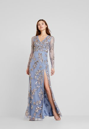 LONG SLEEVE ALL OVER EMBELLISHED DRESS - Galajurk - blue/bronze