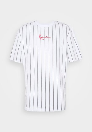 SMALL SIGNATURE PINSTRIPE TEE UNISEX - T-Shirt print - white/black