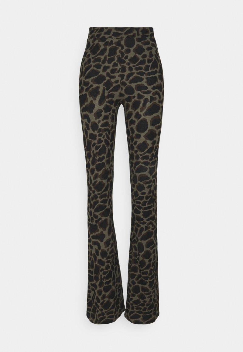 Noisy May Tall - NMSOFIE PASA FLARED PANTS  - Trousers - dusty olive/leo