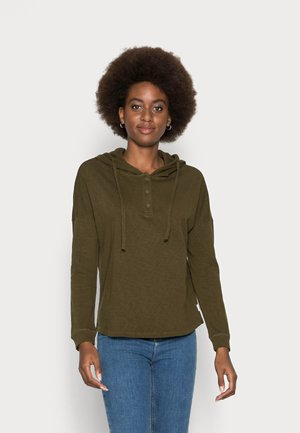 LONG SLEEVE BUTTON PLACKET - Hoodie - burnished logs