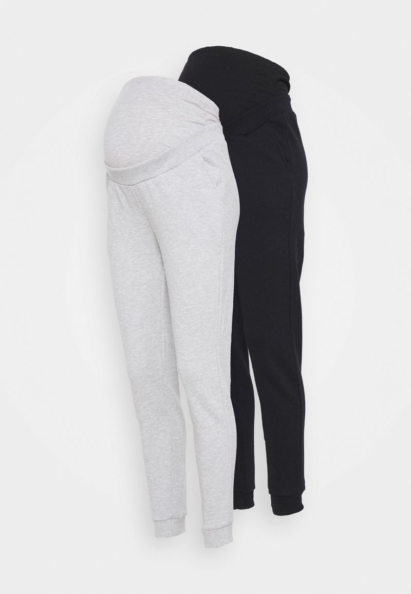 Anna Field MAMA - 2 PACK - REGULAR FIT JOGGERS - OVERBUMP - Tracksuit bottoms - black/grey