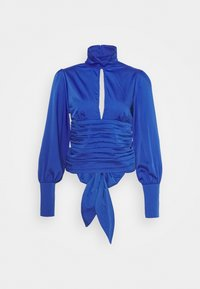 NU-IN - HIGH NECK OPEN FRONT CROPPED BLOUSE - Blouse - blue - 0
