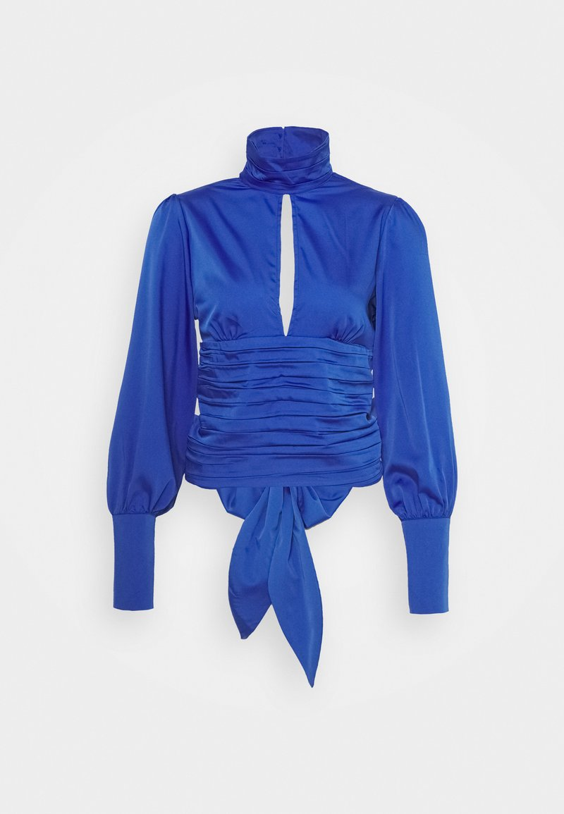 NU-IN - HIGH NECK OPEN FRONT CROPPED BLOUSE - Blouse - blue