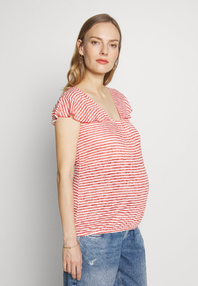 RUFFLED STRIPED - T-shirt z nadrukiem - red