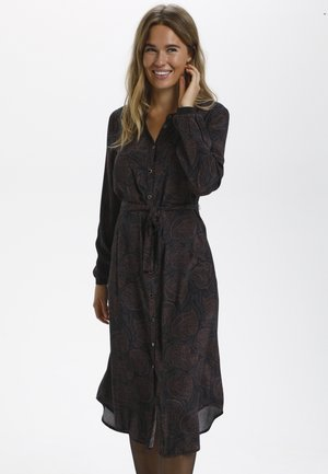 BPJULIA  - Skjortklänning - black/brown round paisley