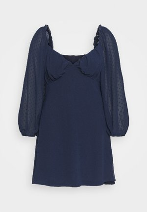 DOBBY MILKMAID DRESS - Day dress - navy