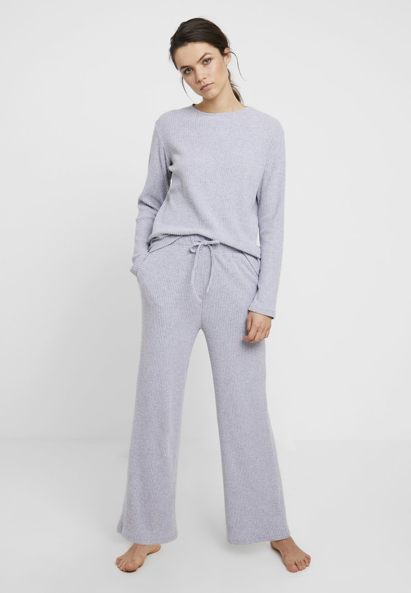 Anna Field - Cosy rib wide leg set - Pyjama set - grey