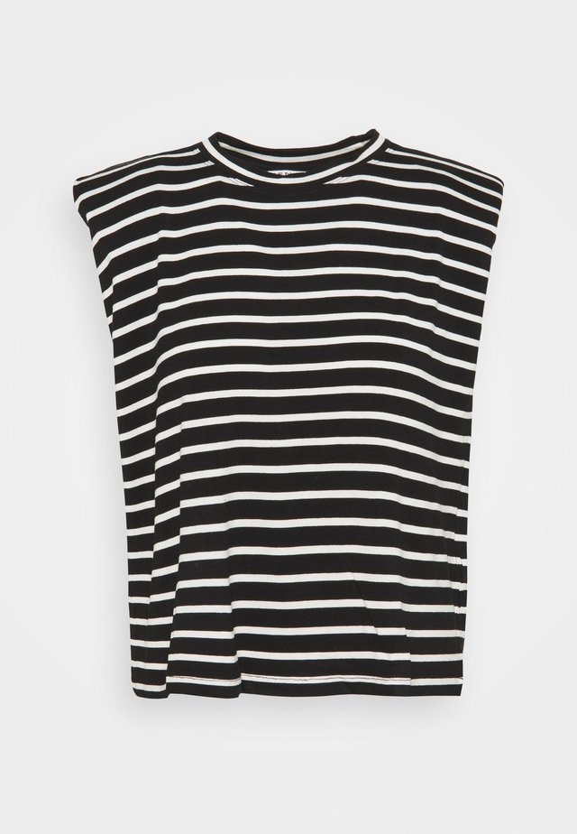 EPAULETTE RAYE - Print T-shirt - noir/ecru