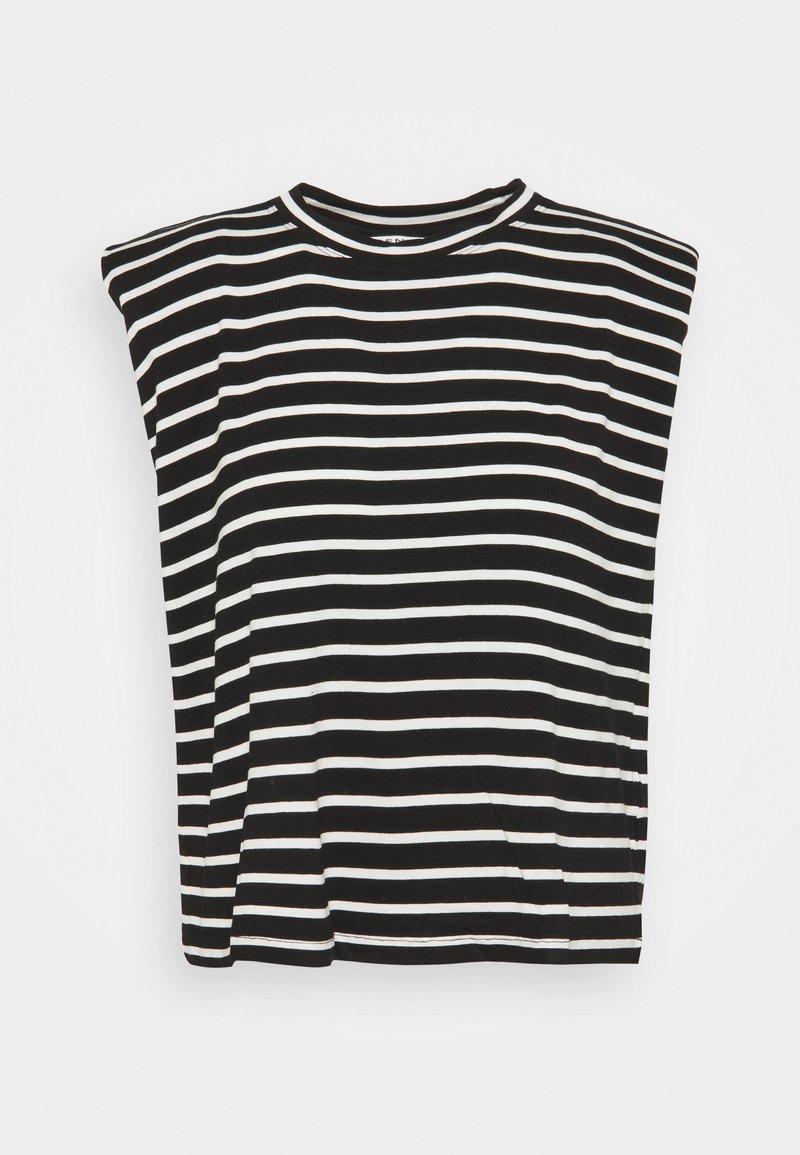 NAF NAF - EPAULETTE RAYE - Print T-shirt - noir/ecru