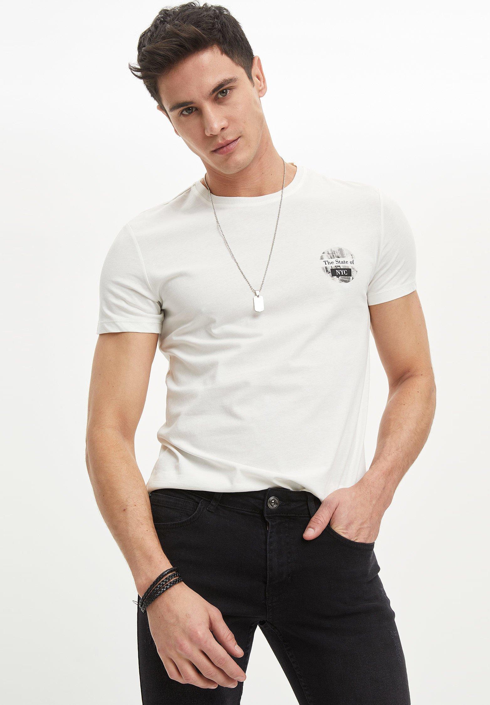 DeFacto Print T-shirt - ecru KTWFo