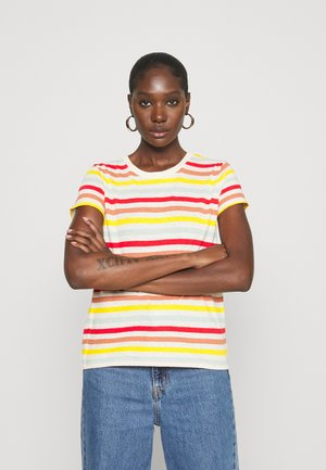 SHRUNKEN TEE IN LENNIE STRIPE - Print T-shirt - antique lace/akita