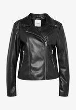 PCSOLIMA BIKER JACKET  - Faux leather jacket - black