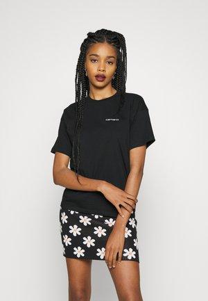 SCRIPT EMBROIDERY - Basic T-shirt - black/white