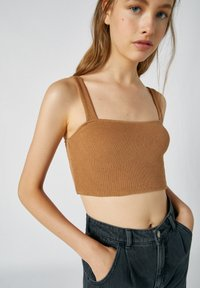 PULL&BEAR - Top - mottled dark brown - 3