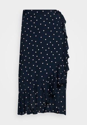 HANNAH WRAP MIDI CURVE SKIRT - Wrap skirt - dark blue