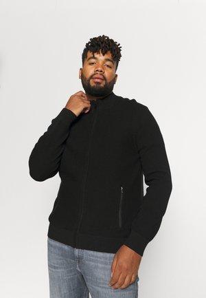 JONAH TEXTURED ZIP CARDIGAN - Cardigan - black