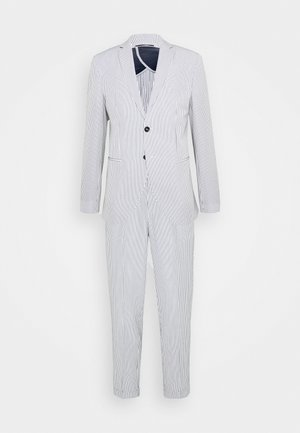 SLHSLIM YONG WHITE STRIPE SUIT - Kostym - white/blue